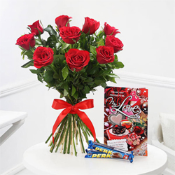 Roses with  Love Card
