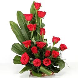 Lovely Red Roses Basket