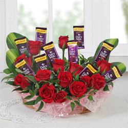 Arrangement of Roses & Chocolates