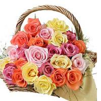 Multicolour Rose Basket