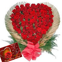 100 Roses in a Heart Shape